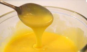 Yellow, gooey custard