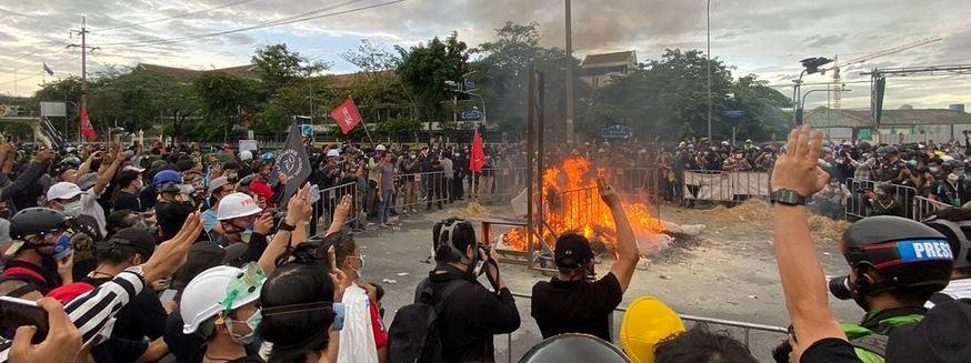 Burning effigy